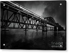 Amtrak Midnight Express 5d18829 Black And White Acrylic Print by Wingsdomain Art and Photography