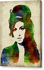 Amy Winehouse Watercolor Acrylic Print by Mihaela Pater