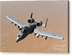 An A-10 Thunderbolt II Over The Skies Acrylic Print by Stocktrek Images