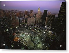 An Aerial View Of Ground Zero Acrylic Print by Ira Block