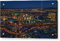 An Aerial View Of The Las Vegas Strip Acrylic Print by Roman Kurywczak