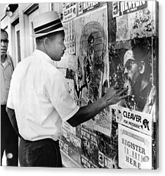 An African American Pokes His Finger Acrylic Print by Everett