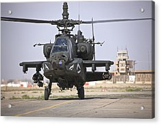 An Ah-64 Apache Helicopter Returns Acrylic Print by Terry Moore