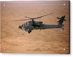 An Ah-64d Apache Longbow Fires A Hydra Acrylic Print by Terry Moore