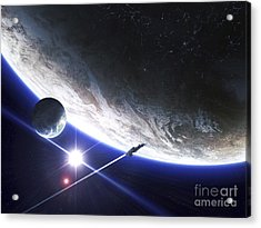 An Alien Patrol Zooms Acrylic Print by Kevin Lafin