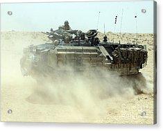 An Amphibious Assault Vehicle Kicks Acrylic Print by Stocktrek Images