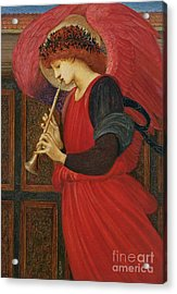 An Angel Playing A Flageolet Acrylic Print by Sir Edward Burne-Jones