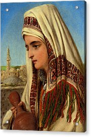 An Arab Woman With A Head Shawl Carrying A Water Acrylic Print by Celestial Images