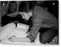An Artist Draws In Pen And Ink, 1972 Acrylic Print