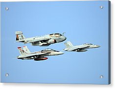 An Ea-6b Prowler And Two F A-18f Super Hornets Us Navy Acrylic Print by Celestial Images