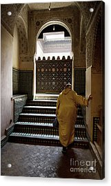 An Elderly Woman Entering The Mosque In Fes, Morocco Acrylic Print by Dani Prints and Images