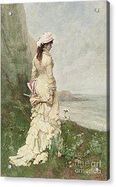 An Elegant Lady By The Sea Acrylic Print