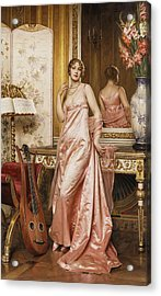 An Elegant Lady In An Interior Acrylic Print by Joseph Frederic Charles Soulacroix