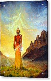 An Enchanting Mystical Priestess With A Sword Of Light In A Land Acrylic Print