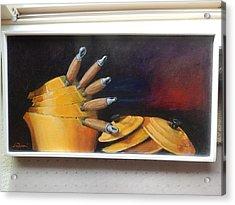 An English Kitchen Yellow Pots Acrylic Print by Ron Wilson