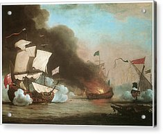 An English Ship In Action With Barbary Pirates Acrylic Print by Willem van de Velde the Younger