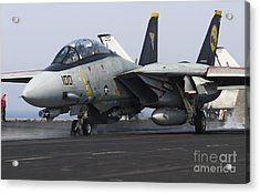 An F-14d Tomcat Launches Off The Flight Acrylic Print by Gert Kromhout