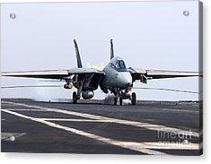 An F-14d Tomcat Makes An Arrested Acrylic Print by Gert Kromhout