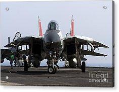 An F-14d Tomcat On The Flight Deck Acrylic Print by Gert Kromhout