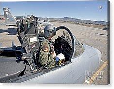 An F-15 Pilot Performs Preflight Checks Acrylic Print by HIGH-G Productions