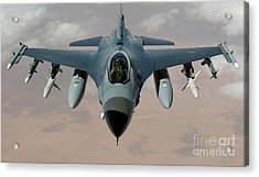 An F-16 Fighting Falcon Flies A Mission Acrylic Print by Stocktrek Images
