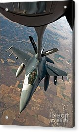 An F-16 Fighting Falcon Receiving Fuel Acrylic Print by Stocktrek Images