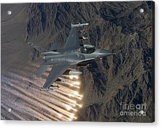 An F-16 Fighting Falcon Releases Flares Acrylic Print by HIGH-G Productions