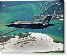 An F-35 Lightning II Flies Over Destin Acrylic Print by Stocktrek Images