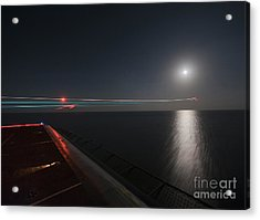 An F A-18 Hornet Launches. Acrylic Print by Celestial Images