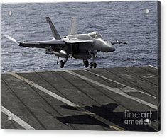 An Fa-18e Super Hornet Prepares To Land Acrylic Print by Stocktrek Images