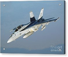An Fa-18f Super Hornet Conducts Acrylic Print by Stocktrek Images