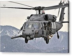 An Hh-60 Pave Hawk Helicopter In Flight Acrylic Print by Stocktrek Images