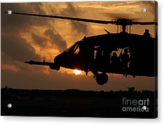 An Hh-60g Pave Hawk Helicopter Prepares Acrylic Print