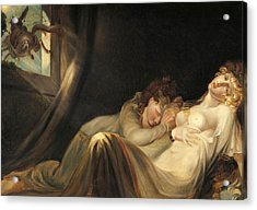 An Incubus Leaving Two Sleeping Girls Acrylic Print by Henry Fuseli