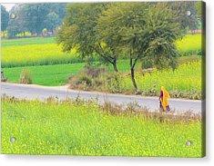 An Indian Village Woman On A Road Acrylic Print by Nila Newsom