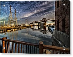 an Industrial river scene Acrylic Print