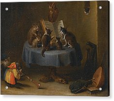 An Interior Scene With Cats Acrylic Print by David Teniers