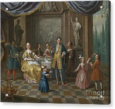 An Interior Scene With Figures Seated At A Table  Acrylic Print