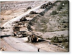 An Iraqi Armored Column Destroyed Acrylic Print by Everett