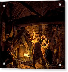 An Iron Forge Acrylic Print by Joseph Wright