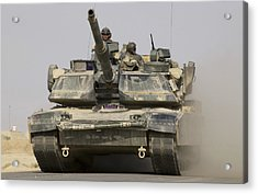 An M1a1 Abrams Tank Heading Acrylic Print by Stocktrek Images