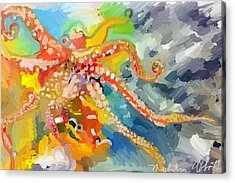 An Octopus Lunch Inspired This Painting Of An Octopus  Acrylic Print