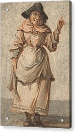 An Old Market Woman Grinning And Gesturing With Her Left Hand Acrylic Print by Paul Sandby