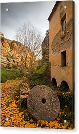 An Old Mill Wheel Outside An Old Flour Acrylic Print by Panoramic Images