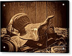 An Old Saddle Acrylic Print by American West Legend By Olivier Le Queinec