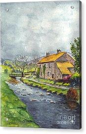 An Old Stone Cottage In Great Britain Acrylic Print by Carol Wisniewski