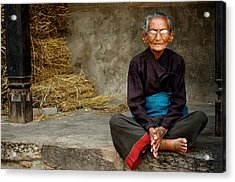 An Old Woman In Bhaktapur Acrylic Print