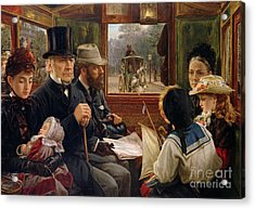 An Omnibus Ride To Piccadilly Circus, Mr Gladstone Travelling With Ordinary Passengers Acrylic Print by Alfred Morgan