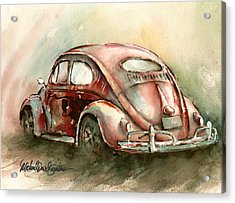 An Oval Window Bug In Deep Red Acrylic Print by Michael David Sorensen