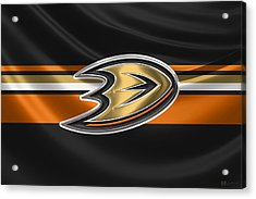 Anaheim Ducks - 3 D Badge Over Silk Flag Acrylic Print by Serge Averbukh